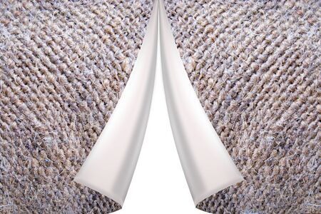 two symetric lapels on the grey texture of fabric with sacking
