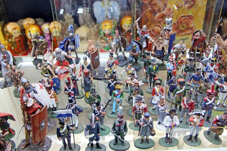 Figures of Tin soldiers for children. Set of different soldiers. Collection of figures of warriors of different times