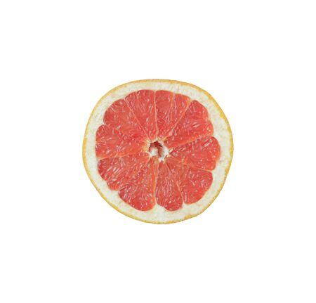 Ripe slice of pink grapefruit citrus fruit isolated on white background. Red grapefruit segment ready to eat. Ripe cut citrus. Sliced grapefruit on white background. Useful food