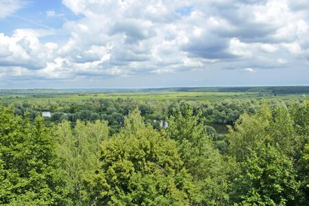 Panoramic landscape. Beautiful landscape on river and swamp from bird's eye view. Natural landscape. sea of greenery growing along the banks of Desna river Stock Photo