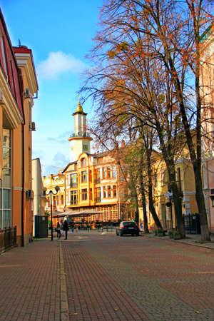 street of Ivano-Frankivsk in autumn. Road in the city. Modern Ukrainian town. City street in Ivano-Frankivsk. Autumn in European city Редакционное
