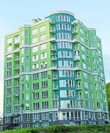 Apartment building. View of multistory modern blocks of flat in Kyiv. Urban architecture. City life. Lifestyle concept. Modern architecture. stylish living block of flats. Real estate