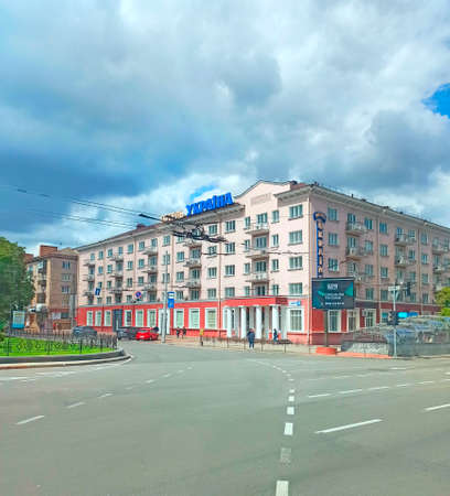 View of the hotel Ukraine in Chernihiv. Central street with panoramic view of hotel in Ukrainian city. Citycape with road. Street view in city. Urban architecture in Eastern Europe