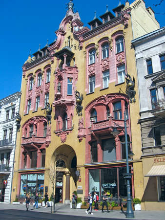 Beautiful architecture of buildings from early 20th century in Lodz. Urban architecture in Poland. Urban architecture in Poland Редакционное