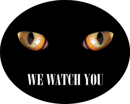 Eyes of beast. Scary sticker. Warning inscription.Protected property. Feline eyes in darkness and inscription we watch you. Warning sign. Cat in darkness. CCTV label. Video surveillance is in progress Фото со стока