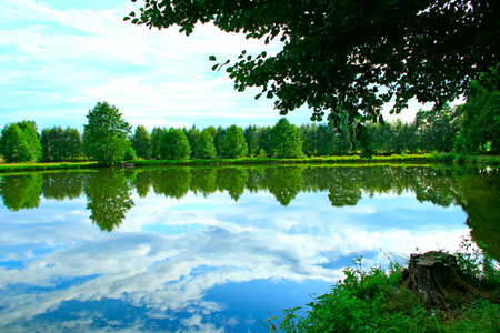 Landscape with summer river. Trees and bushes are reflected in water of river. Summer forest. Water surface of forest river. Beautiful summer landscape. Travel concept