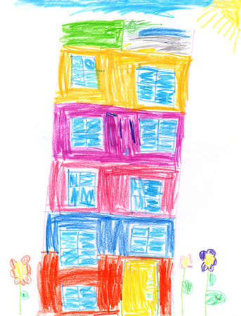 Children's drawing of multi-storey house and flowers painted in all colors of rainbow. Bright colors of summer. Childish art. Artwork drawn by pencils. Colored house drawn with pencils by child Фото со стока