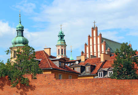 Beautiful architecture with domes in Polish capital Warsaw. Historical building in Warsaw. beautiful church with high fence.