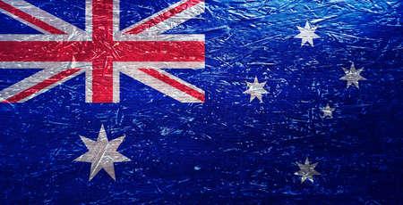 Australian flag on rumpled surface. Australian symbol on scratched surface. Australian flag on textured background. National flag of Australia. Australian symbol on old texture background