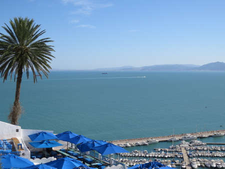 Sidi Bou Said, famouse village with traditional tunisian architecture. White walls, blue shutters and roofs Stock Photo