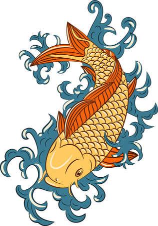 Estilo japonés koi (peces carpa), dibujado a mano Ilustración de vector