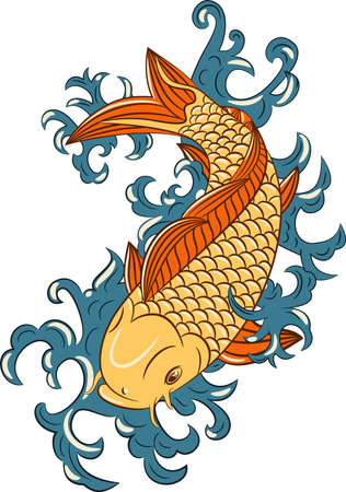 Japanese style koi  (carp fish), hand drawn Vector