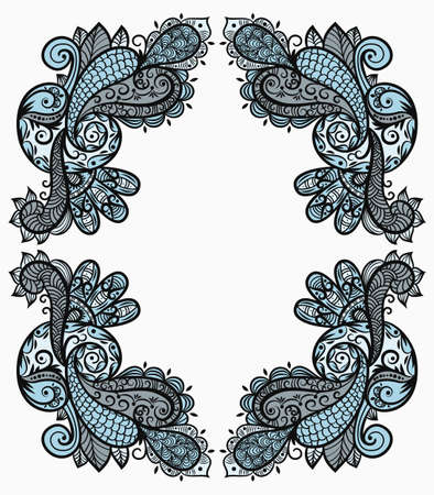 east indian: vector vintage paisley frame