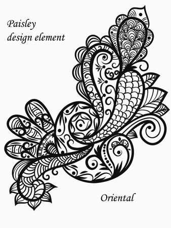 indische muster: Vektor-Monochrom-Paisley Design-Element Illustration
