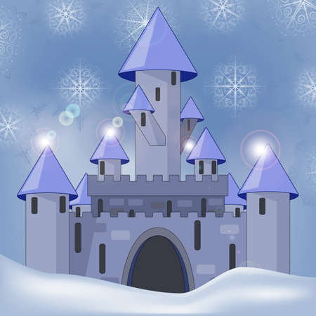 eps 10, vector cartoon castle in witer at night Vector