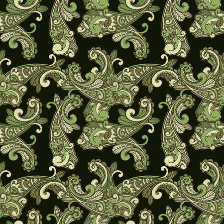 ペルシア: ベクトル緑でシームレスなペイズリー柄