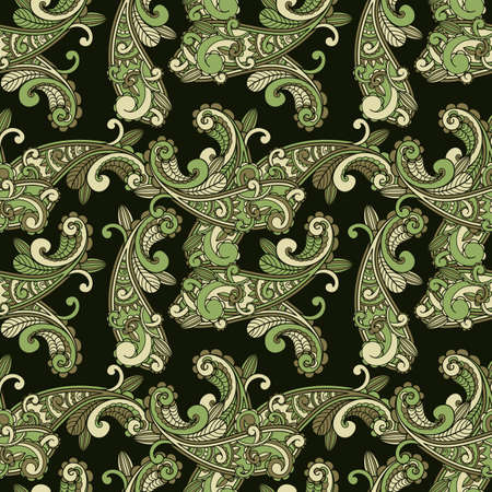 vector seamless paisley pattern in green Stock Vector - 11125396