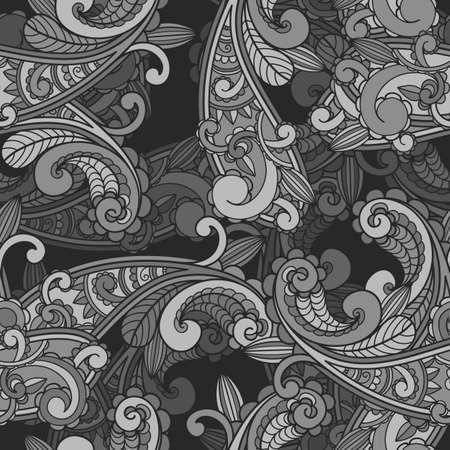 monochroom: vector naadloze zwart-wit paisley patroon in grijs Stock Illustratie