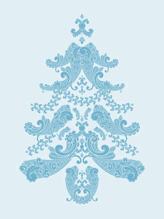 vector christmas tree from paisley elements  in blue Vector