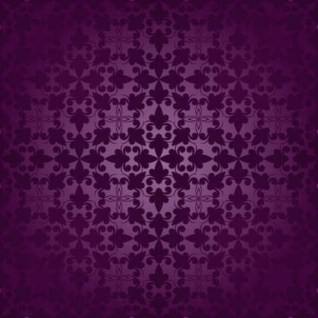 scroll tracery: vector vintage seamless floral ornament in purple