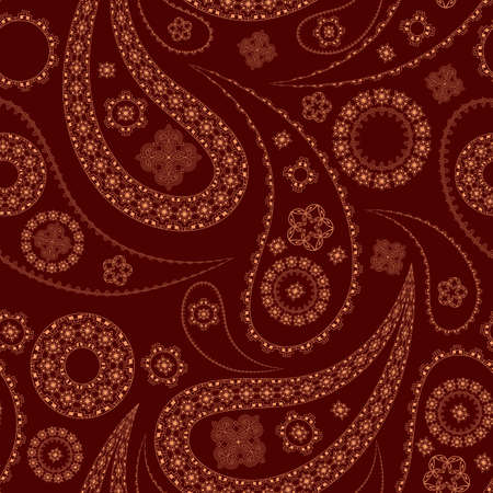 vector seamless paisley pattern on red Vector