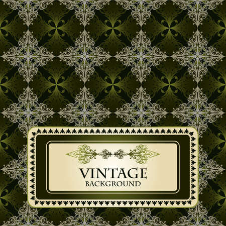 scroll tracery: vector seamless vintage pattern,golden and green Illustration