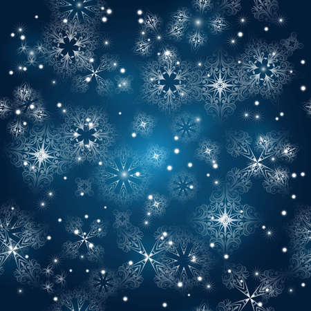 seamless background with snowflakes at the winter sky, clipping mask, snowflakes can used separately Vector