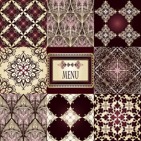 india food: vector eight seamless patterns and frame for your text