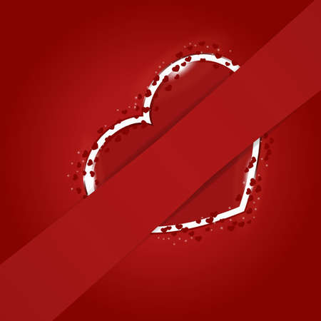 Red heart hidden behind the ribbon for your text Vector