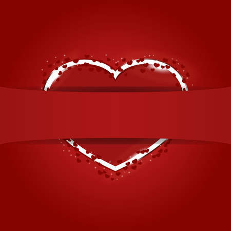 Red heart hidden behind the ribbon for your text Stock Vector - 11570312