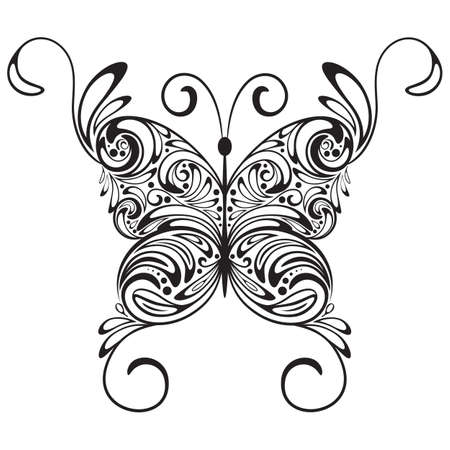 swill: vector monochrome  tattoo butterfly Illustration