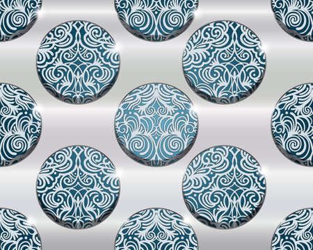 scroll tracery: seamless  metal grid and seamless floral pattern behind