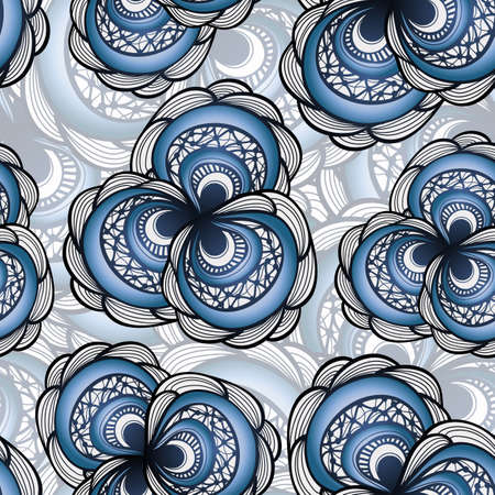 vector seamless pattern with abstract flowers in blue Vector