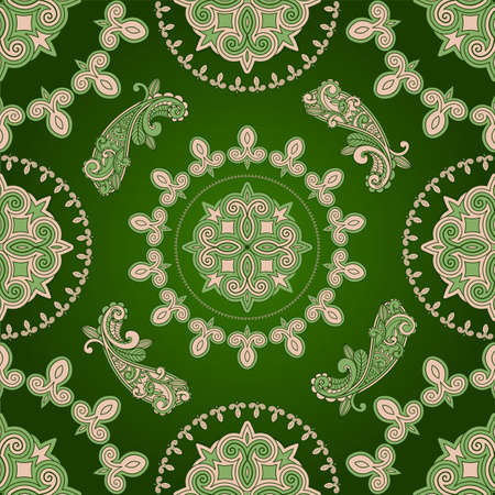 seamless paisley pattern in green Illustration