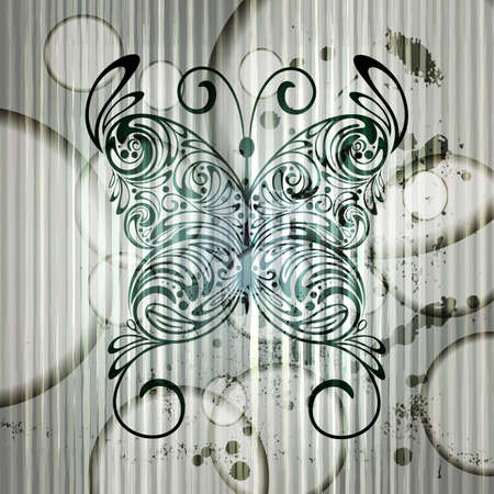 vintage butterfly on grungy background with stripes and circles Vector