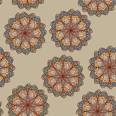 middle eastern: vector hand drawn seamless ethnic floral pattern Illustration