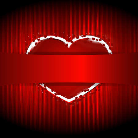 red heart hidden behind the ribbon for your text on striped background Vector