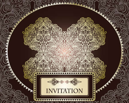 vector invitation template on seamless pattern Vector