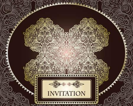 vector invitation template on seamless pattern Vector