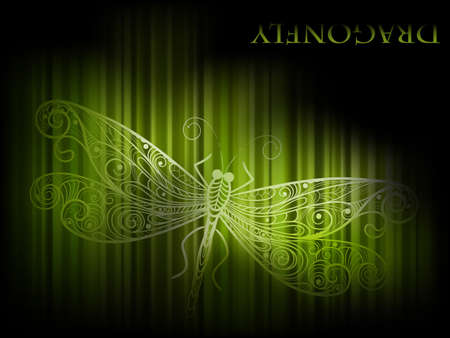 eps 10, vector background with green dragonfly and stripes Vector
