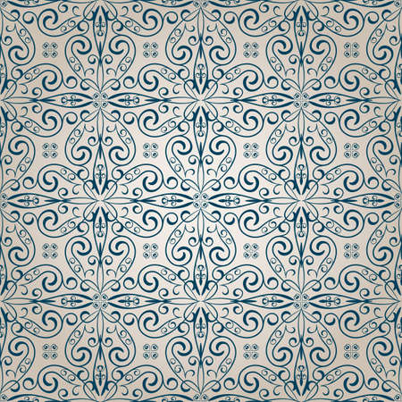 scroll tracery: vector seamless vintage retro pattern