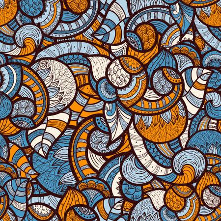 trừu tượng: vector liền mạch doodle dân tộc mẫu hoa tươi sáng Hình minh hoạ