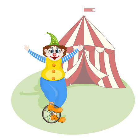vector cheerful clown unicycling in front of circus tent Vector