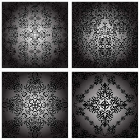 vector set of  seamless vintage monochrome retro patterns Vector