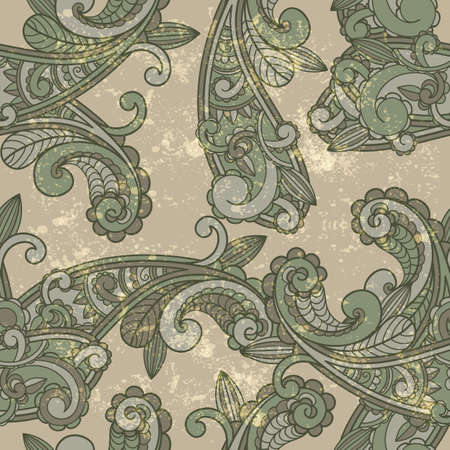seamless paisley pattern on  grungy background  Vector
