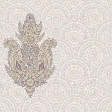 식물상: 원활한 동부 패턴 페이즐리 디자인 요소
