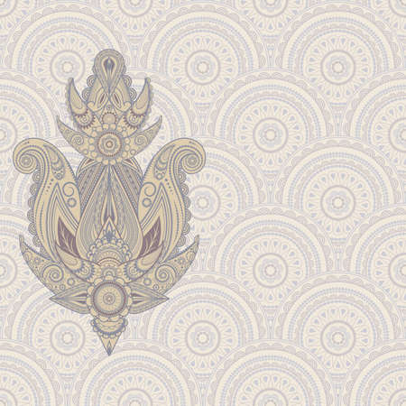 paisley design element on seamless eastern pattern Vector