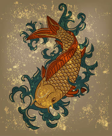 japanese koi carp fish on grungy background Vector