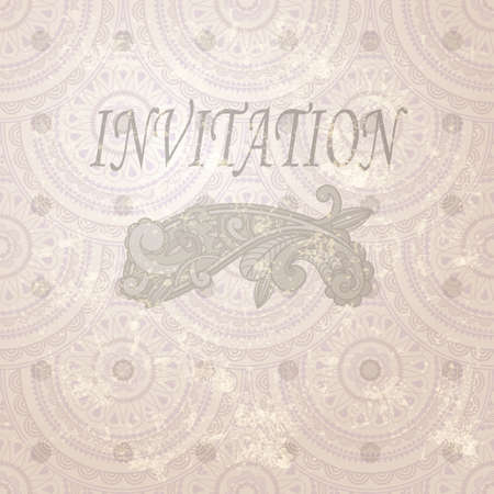 vintage invitation with paisley element and seamless eastern  pattern Vector