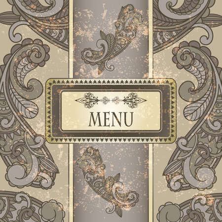 persian art: menu with paisley pattern and place for your text on  grungy background